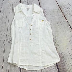 Guess sleeveless white Henley top gold buttons XS